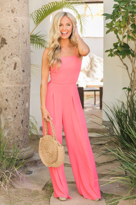 f5a495a5aa1 One Perfect Moment Jumpsuit Hot Pink - The Pink Lily