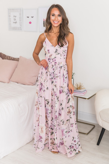 8d6658d3b47a8 It's Love At First Sight Blush Floral Maxi Dress - The Pink Lily