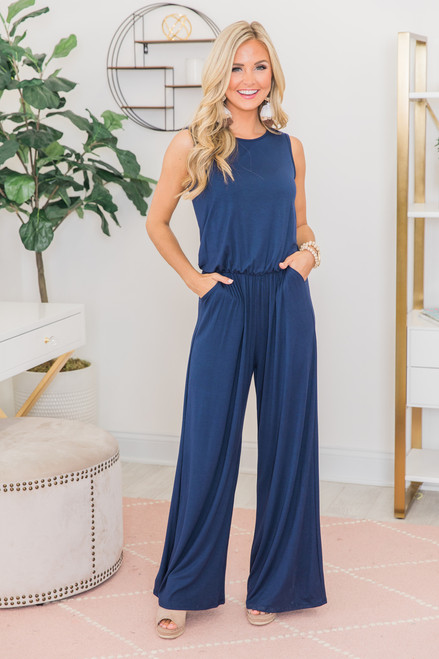 b6f633a09b0 So Much Love Jumpsuit Navy - The Pink Lily