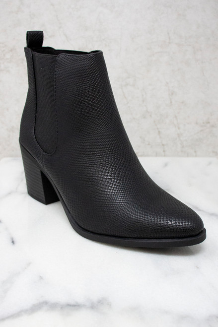 The Elaine Black Crocodile Print Booties