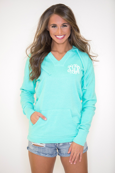 08a299a387006 True Colors Vinyl Monogram Hoodie Mint - The Pink Lily