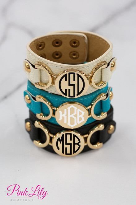 f4d0fdda13c Monogrammed Vinyl Leather Cuff Bracelets CLEARANCE - The Pink Lily