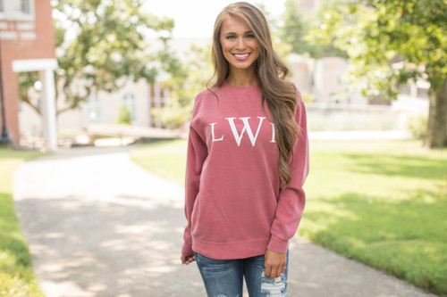 Comfort colors personalized sweatshirt crimson the pink lily