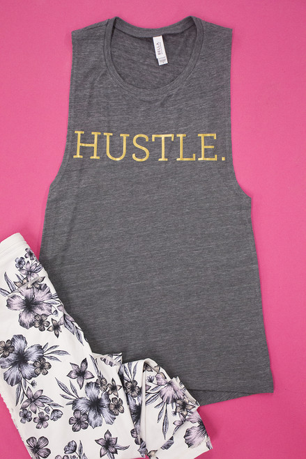 Hustle Gold Athletic Vinyl Tank The Pink Lily