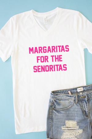 7b9f2d41 Margaritas For The Senoritas V-Neck White Graphic Tee