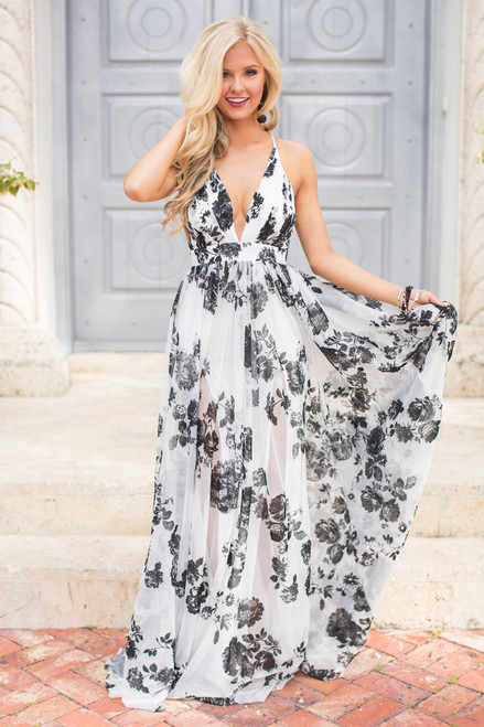 1e174299b5d1 Beautiful Drama Floral Maxi Dress - The Pink Lily