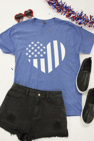 3ec8b01e Distressed Vertical Flag Heart Blue Graphic Tee
