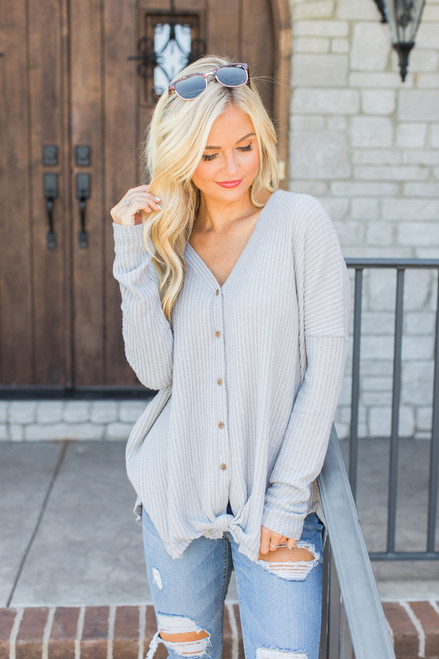 b1f1598513 Echoes In My Heart Blouse Grey CLEARANCE - The Pink Lily