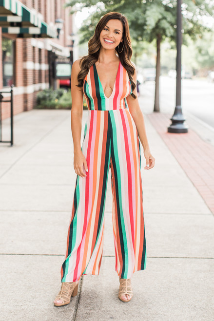 416cb0330df A Colorful Life Striped Jumpsuit CLEARANCE - The Pink Lily
