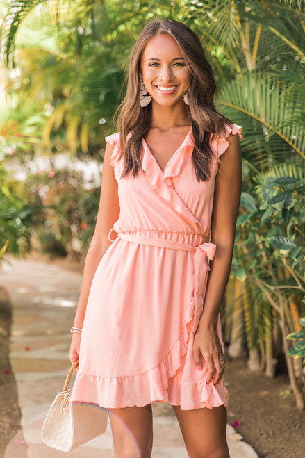 cf38c682e9 Quiet Grace Dress Coral CLEARANCE - The Pink Lily