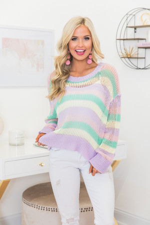 Snuggles For Life Striped Sweater Lilac d43623ad3