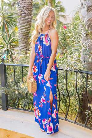 9b4f8220aa88 Let Your Dreams Blossom Floral Maxi Dress Royal Blue
