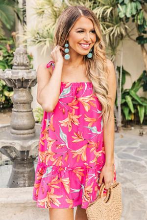 bae5da0f708c Dreaming On The Lanai Floral Dress Hot Pink
