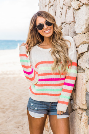 ff1e170597 Think About Me Striped Sweater Rainbow COMING BACK 6 7