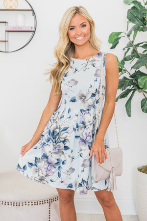 Fascinated By Your Love Floral Dress Light Blue 2675706cbb45