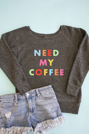2e1bbba4f662ca Need My Coffee Rainbow Graphic Pullover