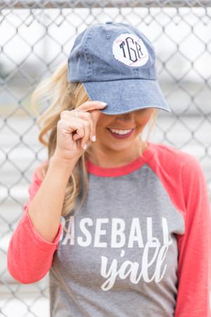 459b785f35c3d Baseball Patch Monogram Applique Baseball Cap
