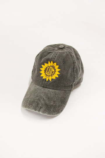 28b25a6bcd719 Sunflower Monogram Embroidered Baseball Cap - The Pink Lily