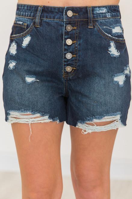 54fdf829173ccc Brand New Mood Dark Wash Denim Shorts - The Pink Lily