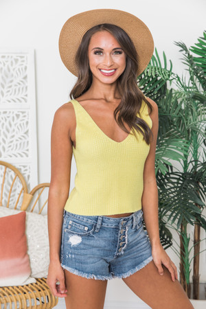 809579bfeb2 Simpler Times Sweater Tank Yellow