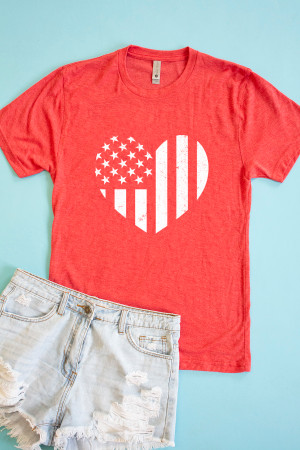 b99e23ba Distressed Vertical Flag Heart Red Graphic Tee