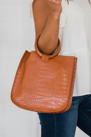 Just One Wish Brown Crocodile Print Purse