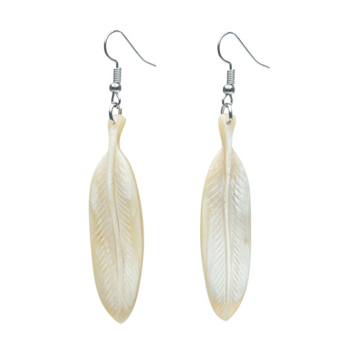 "Feather Earrings - 2"" Natural"