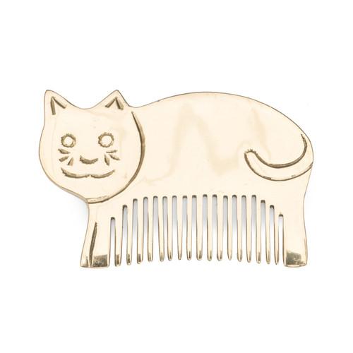 Cat Brass Comb