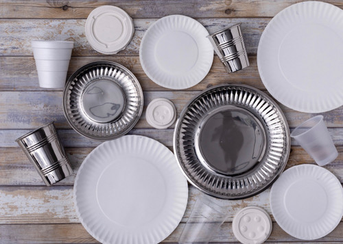 """""""Paper Plate"""" in Stainless Steel Large Set of Four"""