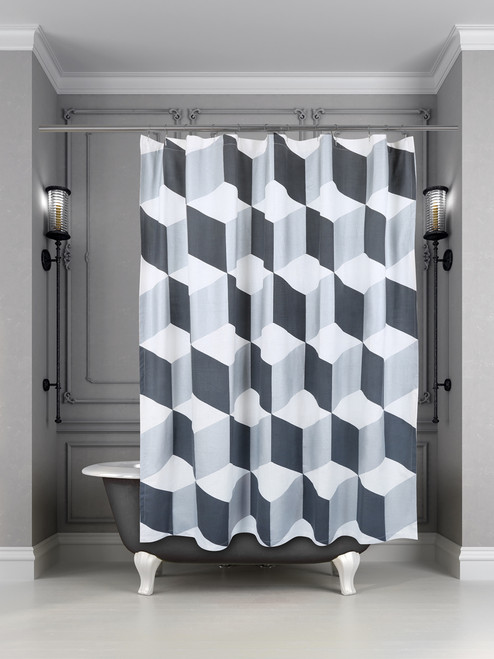 Palazzo Shower Curtain Charcoal/Metallic Silver