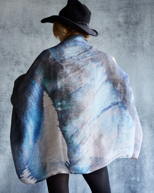 Jungle Linen Scarf Blue