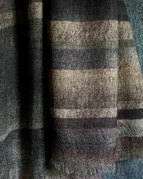 Stripe Wool/Viscose Scarf Bronze