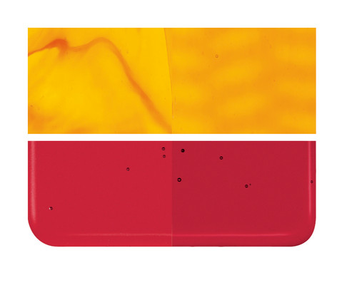 Bullseye Glass Red Transparent, Dbl-rolled 001122-0030-F-1010