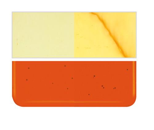 Bullseye Glass Orange Transparent, Dbl-rolled 001125-0030-F-1010