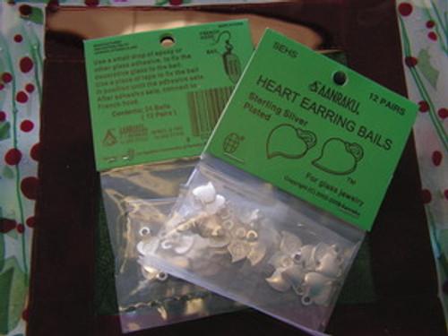 Aanraku ® Silver-plated Heart Earring Bails (24)