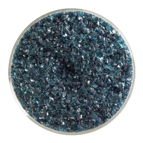 Bullseye Glass Aquamarine Blue Transparent, Frit, Medium, 5 oz jar 001108-0002-F-OZ05