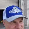 Snapback Royal Blue & White Hat On Model