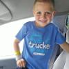 Trucker In Training Blue Shirt On Model