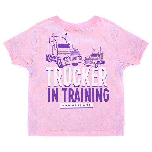 Trucker In Training Hammer Lane Toddler Tee Pink
