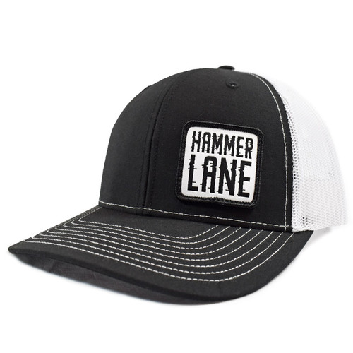 Black & White Hammerlane Patch Snapback Hat Side