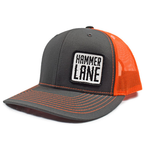 Neon Orange & Charcoal Hammerlane Patch Snapback Hat Side