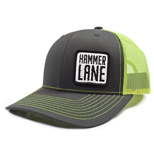 Neon Green & Charcoal Hammerlane Patch Snapback Hat Side