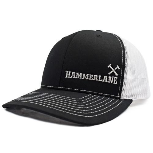 Black & White Hammerlane Cross Hammers Snapback Hat Side