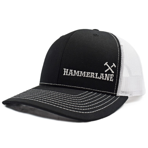 Black & White Hammerlane Cross Hammers Snapback Hat Side