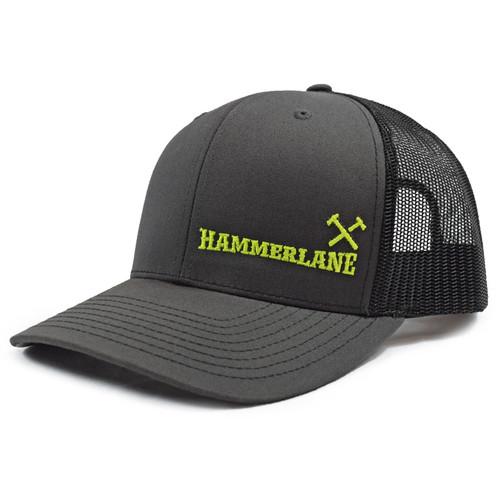 Charcoal & Black Hammerlane Cross Hammers Snapback Hat Side