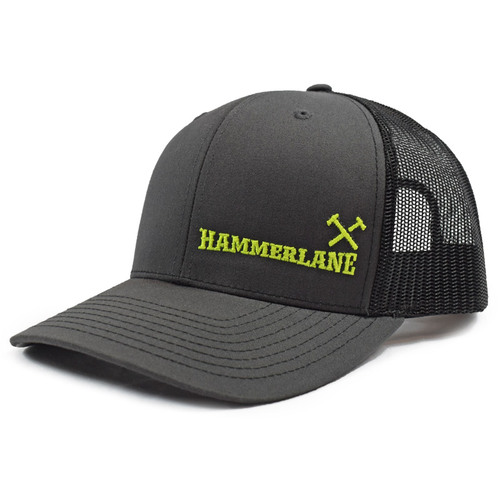Charcoal & Black Hammerlane Cross Hammers Snapback Hat Side