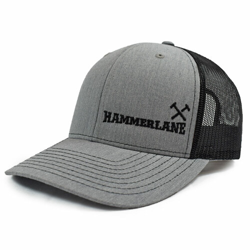 Heather Grey & Black Hammerlane Cross Hammers Snapback Hat Side