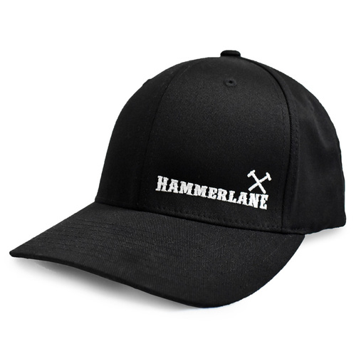 Black Hammerlane Cross Hammers Fitted Flex Hat Side