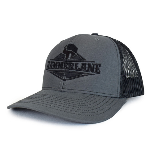 Snapback Charcoal & Black Hammerlane Trucker Hat Side Angle
