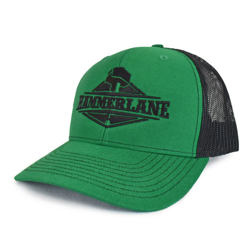 Snapback Green & Black Hammerlane Trucker Hat Side Angle